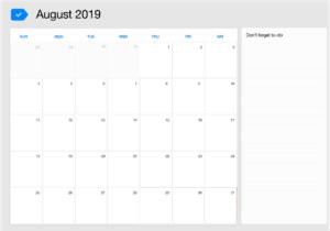 August 2019 printable calendar for download