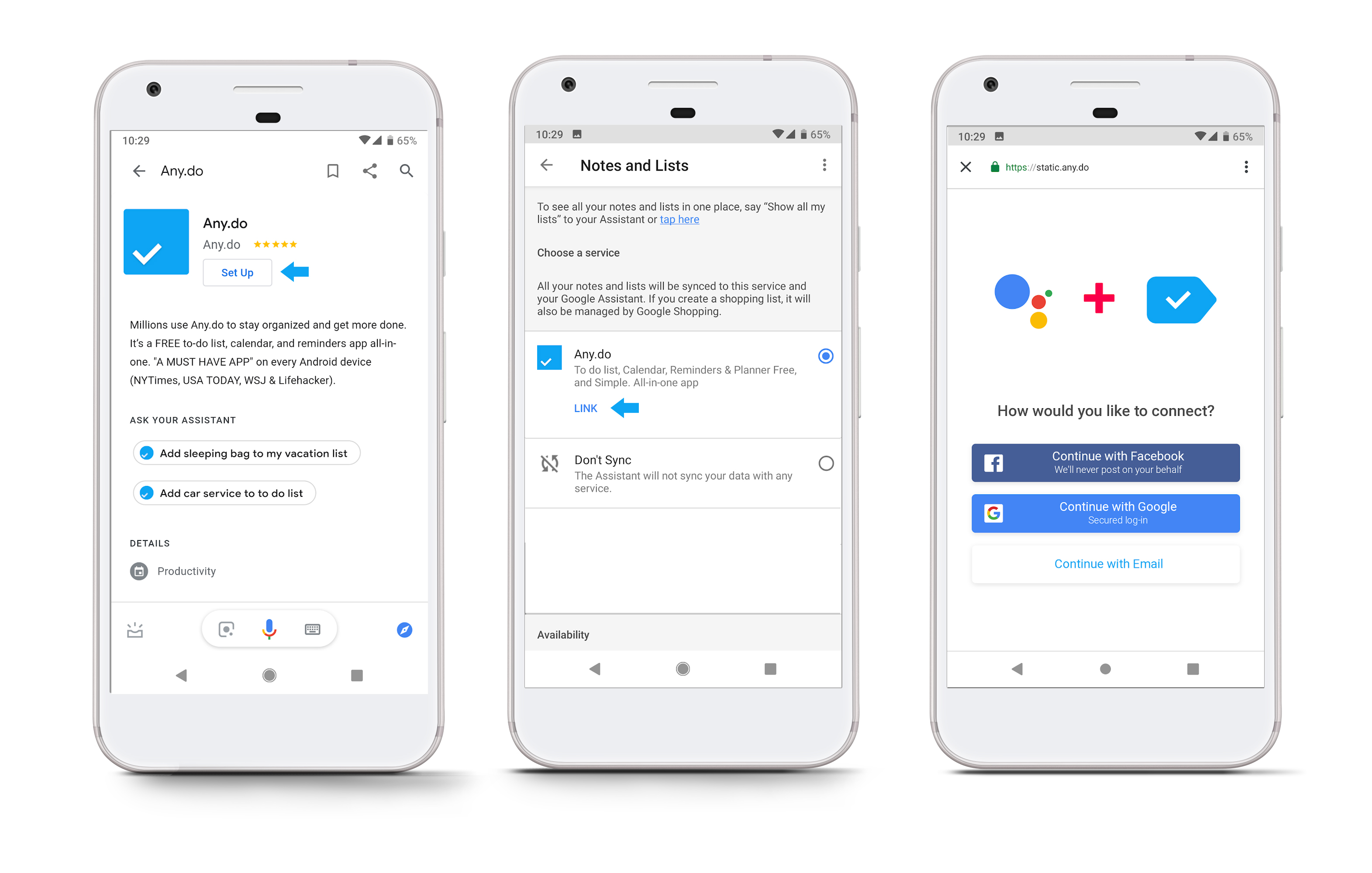 Connecting Google Assistant and Any.do